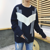 2017 Winter Man Knit Fashion Jacquard Woolen Pullover In Warm Thickening Sleeve Single Loose Mixed Color Casual Sweaters M-xl