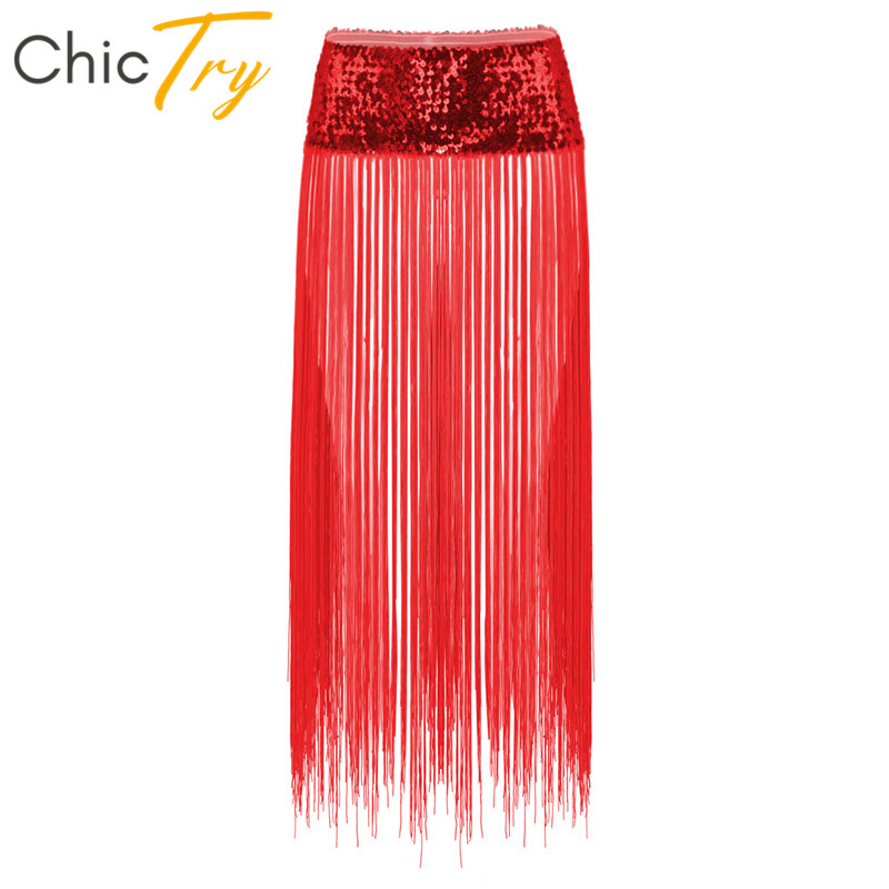 ChicTry Shiny Sequins Hip Scarf Long Tassels Fringe Belly Dance Skirt Club Party Rave Women Boho Stage Performance Dance Costume