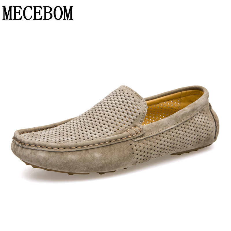 Men's Genuine Leather Loafers Summer Holes Breathable Men Shoes Slip-on Casual Driving Shoes moccasins size 38-44 8033m vesonal 2017 summer luxury genuine leather flats loafers men shoes casual fashion slip on driving breathable size 38 44 v9669