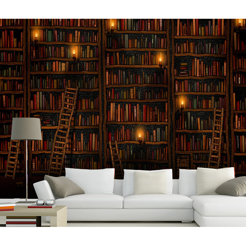Compare prices on bookshelves living room online shopping for Bookshelf mural wallpaper