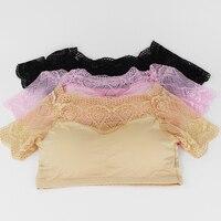 Modest Lace Cotton Elatsic Women Tops Non Steel Ring Bra Solid Color Tanks Tops Female Vest