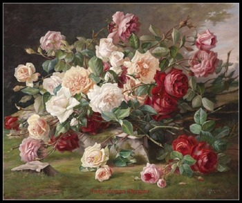 Needlework for embroidery DIY DMC High Quality - Counted Cross Stitch KitS 14 ct Oil painting - Roses Bouquet II