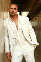 Ivory/White Linen Summer Beach Wedding Suits for Men Casual Best Man Groom Party Prom Suits Custom Made Street Wear Men Blazer