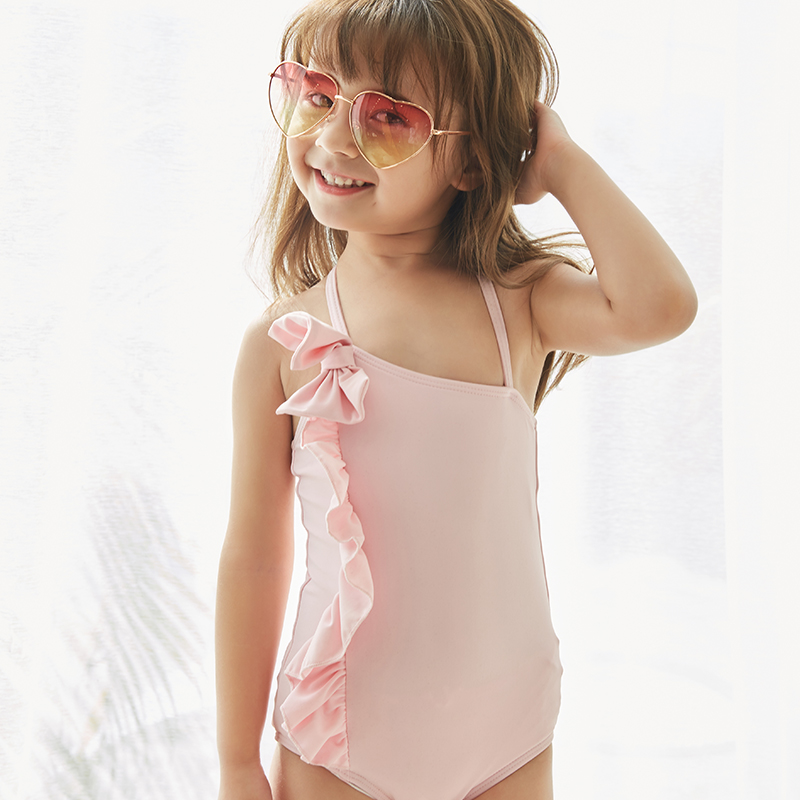 2019 New Baby Girl 39 s Swimsuit Kid 39 s One Piece Swimwear Children Solid Bodysuit Bowknot Swimsuit for Girl Beachwear Monokini in Children One Piece Suits from Sports amp Entertainment
