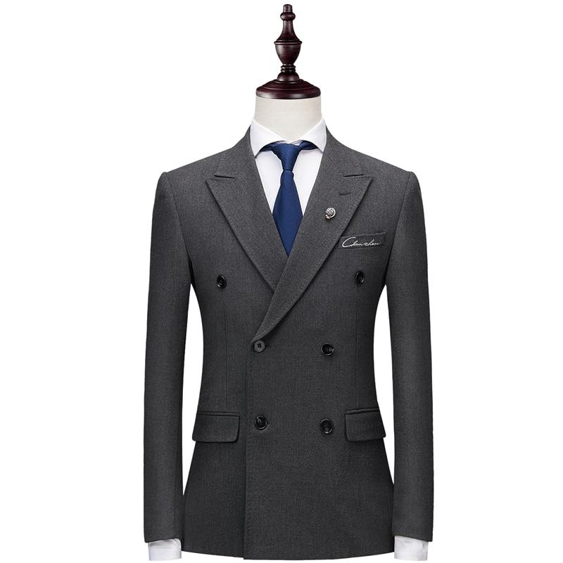 Plyesxale 더블 브레스트 양복 남자 2018 슬림 맞는 망 정장 바지 블랙 그레이 남자의 결혼식 신랑 자 수 정장 2 pcs q186-에서정장부터 남성 의류 의  그룹 3