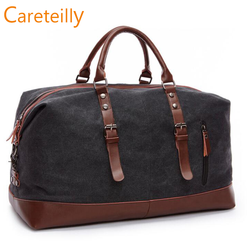 Careteilly Large capacity Canvas Duffel Bags Travel Duffel bags with leather trim