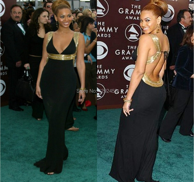 Sexy Beyonce Black Sheath Column Celebrity Formal Gowns Backless
