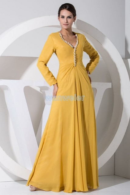 free shipping 2017 hot sale plus size yellow new modest long sleeve gowns  beading chiffon Mother of the Bride Dress with jacket 9dbb5bd2e261
