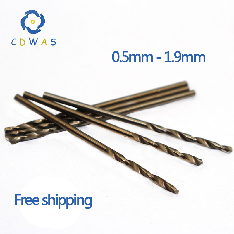 0.5 0.8 0.9 1 1.1 1.2 1.3 1.4 1.5 1.6 1.7 1.8 1.9mm HSS-CO M35 Cobalt Steel Straight Shank Twist Drill Bits For Stainless Steel