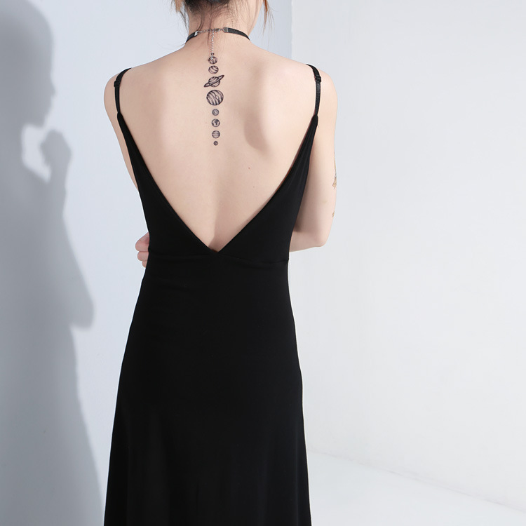 Robes Blackless Punk cou Femelle Métal Nouveau Femmes Robe Européenne Sauvage 2018 Dames Mode Gothique Split Sexy Boucle Taille V Haute I4zU1qw