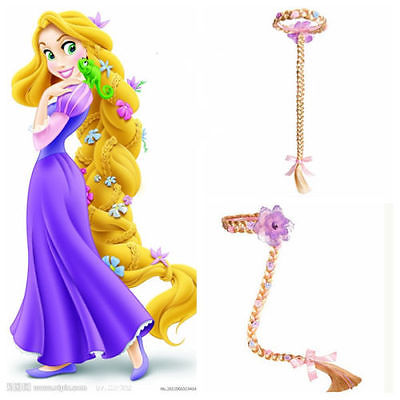 Blonde Cosplay Weaving Braid Tangled Rapunzel Princess Headband Hair Girl Wig