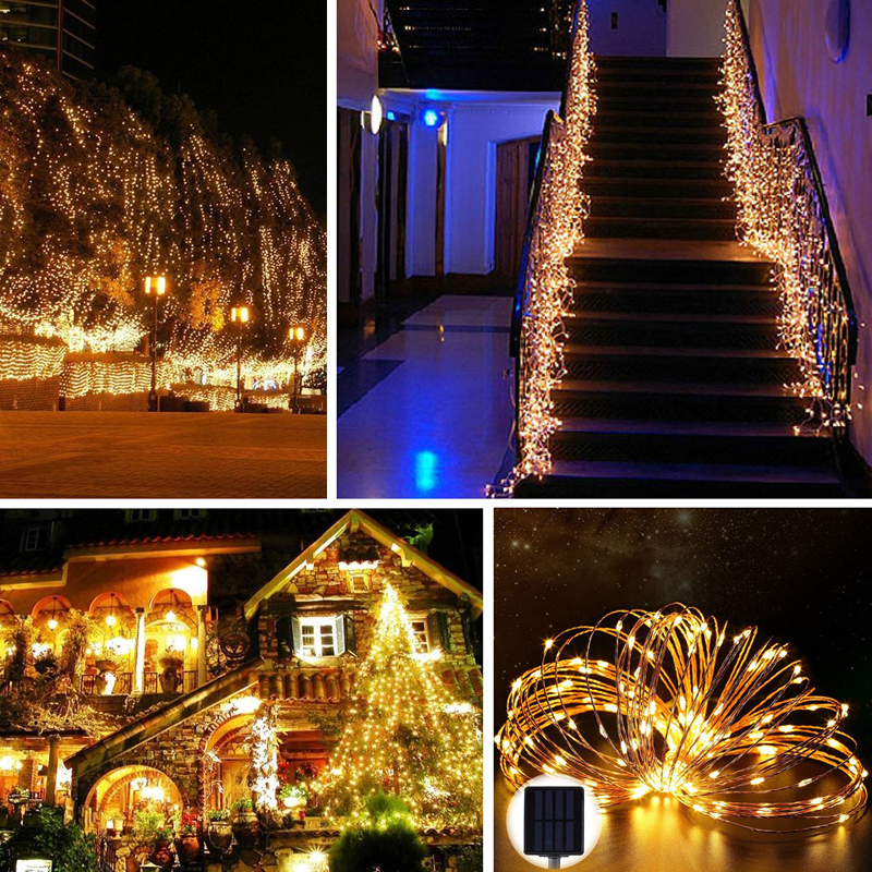 Solar Power String Light Waterproof LED Strip 10m 120 LED Copper Wire - Pencahayaan perayaan - Foto 3