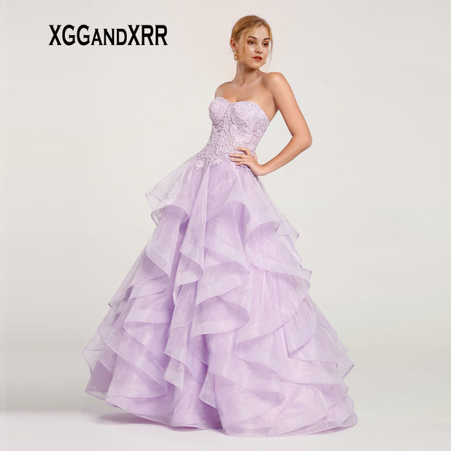 Sexy Strapless Light Purple Long Prom Dresses 2019 with Ruffles Skirt Backless Organza Formal Party Gown Gala Dress