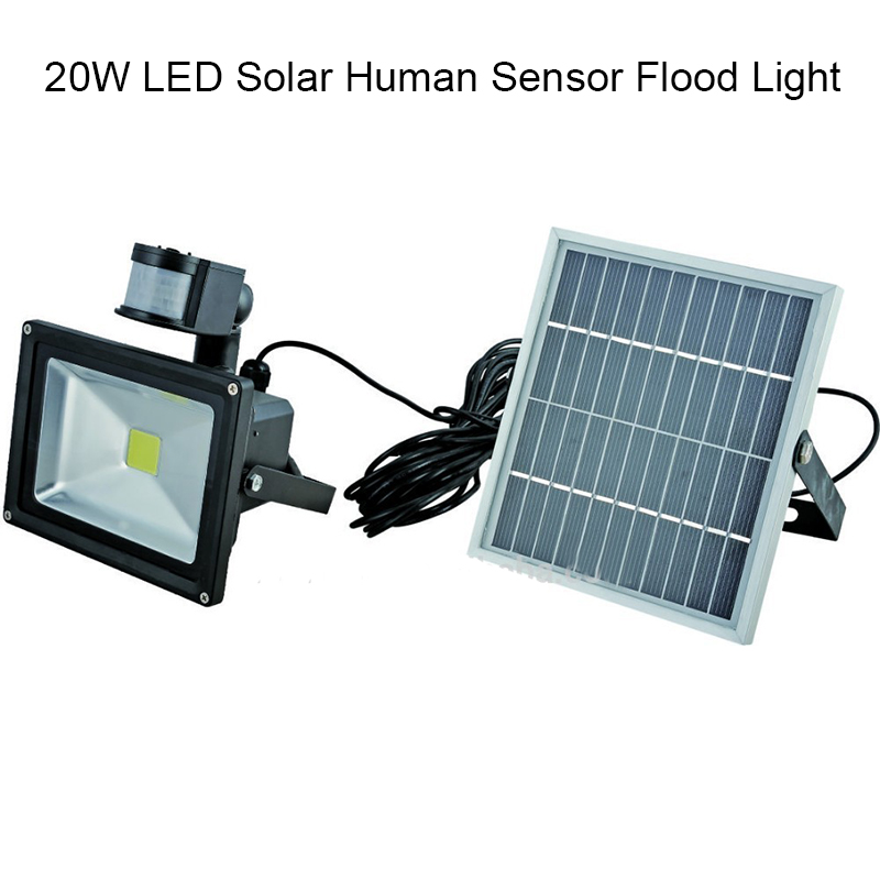 1pcs/lot 20W hot Solar Panel LED Flood Security Solar Garden Light PIR Motion Sensor Path Wall Lamps Outdoor Emergency Lamp