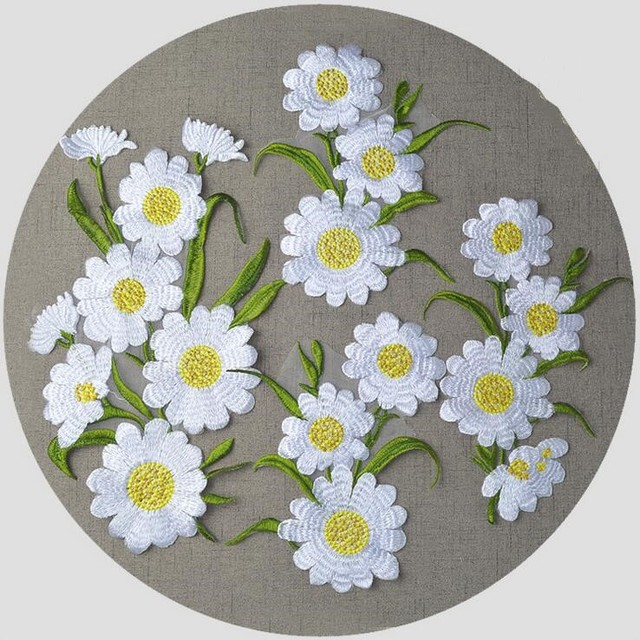 1PC Large Daisy Flower Patch Venice Embroidered Dress Motif Sewing Iron On Applique  Embroidery Flower Patches