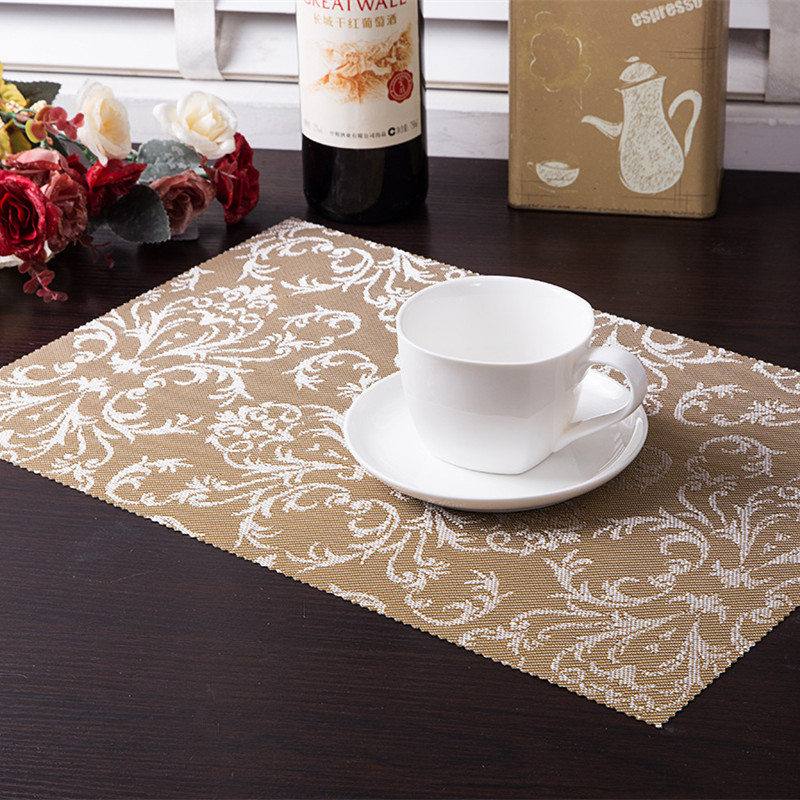 4pcs Set Pvc Square Dining Table Placemats Gold Heat Insulation Mat Coaster Bowl Pad