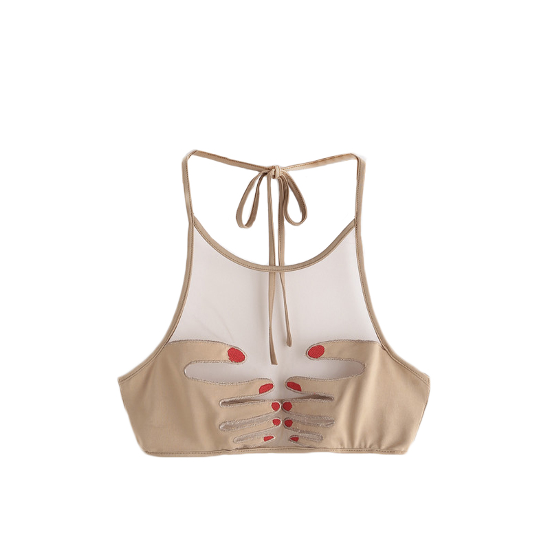 5a69690722f Dropwow SHEIN Sexy Tops for Women Apricot Bralette Top Nails Hand ...