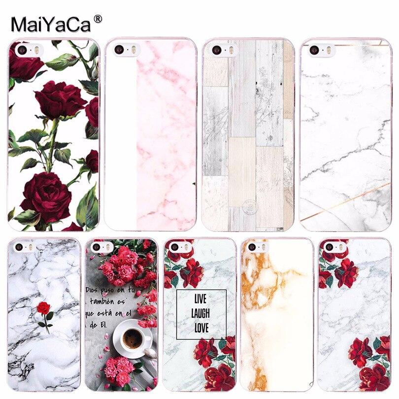 Maiyaca красная роза Мрамор Хит продаж Мода кожи тонкий ПК cell чехол для iPhone 8 7 6 6 S Plus x 10 5 5S SE 5C 4 4S Coque В виде ракушки