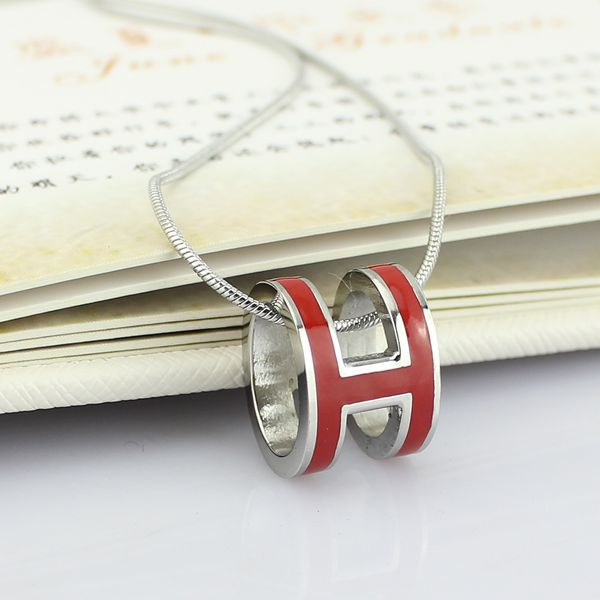 high quality 316 stainless steel h letter pendant necklace for women (12)