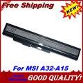5200 mah bateria do portátil A32-A15 A41-A15 A42-A15 A42-H36 para MSI A6400 CR640 CR640MX CR640X CX640 CX640X