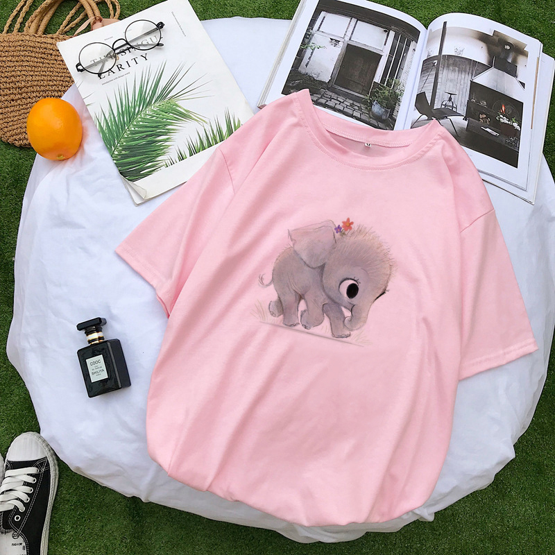 New Cute <font><b>Baby</b></font> Elephant Pink <font><b>Tshirts</b></font> Top Women Harajuku Kawaii Cartoon <font><b>Animal</b></font> Print T-shirt Graphic Tee Couple Clothes Streetwear image
