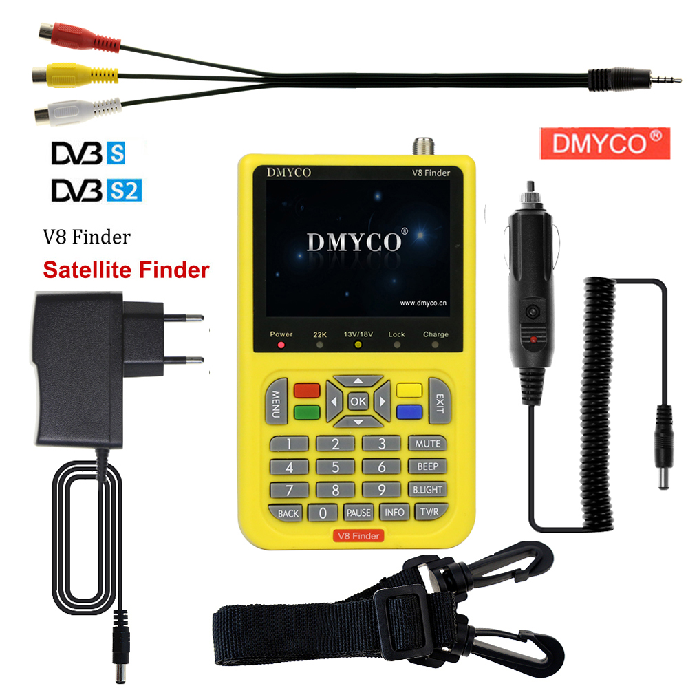 DMYCO v8 finder 3.5 inch LCD digital satFinder DVB-S2 sathero MPEG-2 MPEG-4 Frsat Receptor satellite Decoder Finder satlink