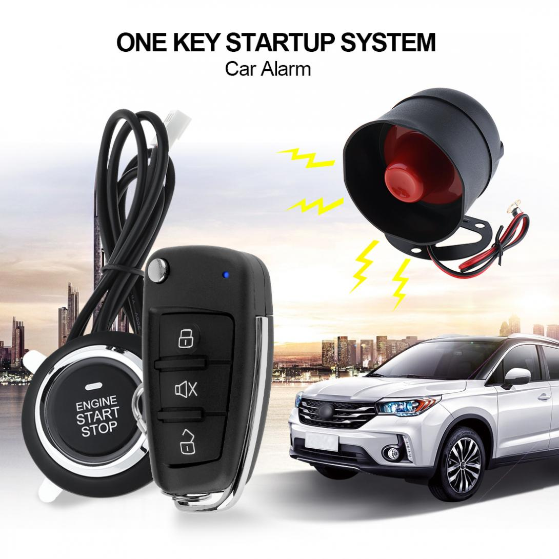 Universal Mini Car Alarm System Remote Start Stop Engine System with Auto Central Lock and Keyless Entry easyguard pke car alarm system remote engine start stop shock sensor push button start stop window rise up automatically