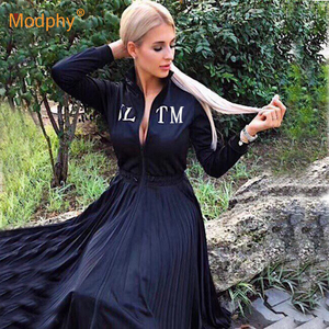 2020 Women's Black Elegant Pleated Dress Long Sleeve Stand Collar Front Zipper High Waist Casual Dress Celebrity Party Vestidos