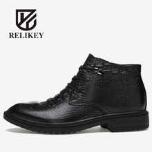 RELIKEY Brand Men Boots Handmade Genuine Alligator Shoes,Winter Warm Comfortable Fashion Ankle Boots,Men Casual Shoes With Fur.