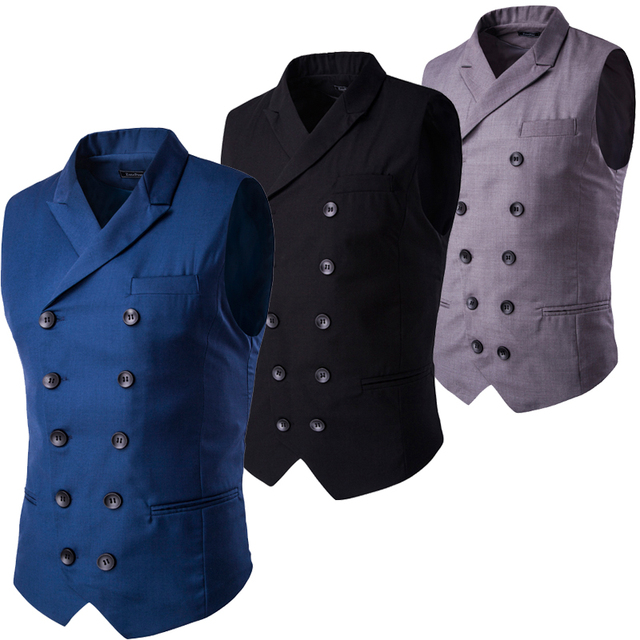 Fashion Slim Fit Leisure Waistcoat Double Breasted Men Suit Vest Tuxedo Formal Business Jacket Sleeveless Blazer Black Navy Gray