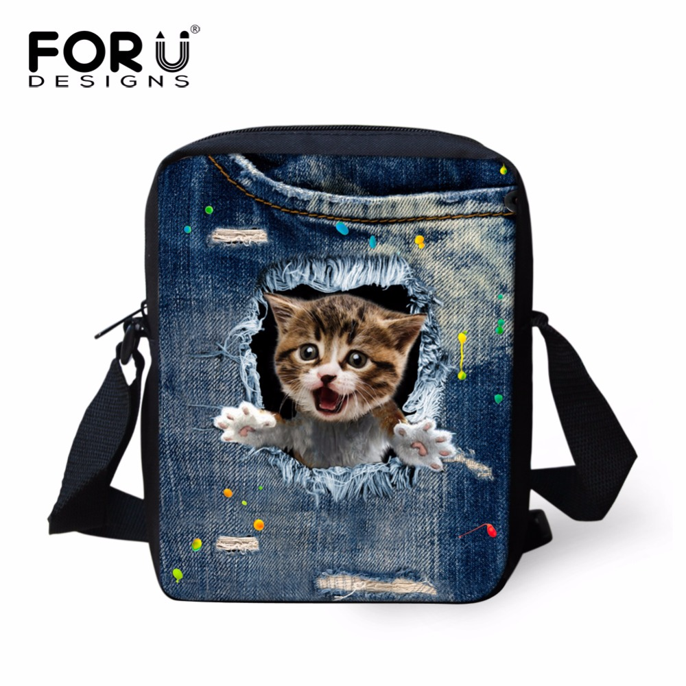 FORUDESIGNS Small Children School Bags Denim Animal Cat Dog Pattern Schoolbag for Boys Girls Mochila Kids Shoulder Book Bag Baby