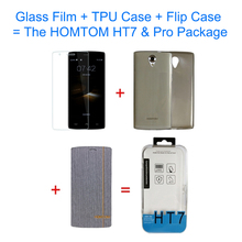 Whole Package 3 in 1 Original HOMTOM HT7 & HT7 Pro TPU Protective Case + Flax Texture Leather Case + Tempered Glass Screen Film