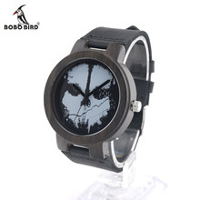 BOBO BIRD V-D24 Halloween Skull Feature Design Wood Watch Mysterious Quartz Wristwatch HalLoween Accessory for Party(China)