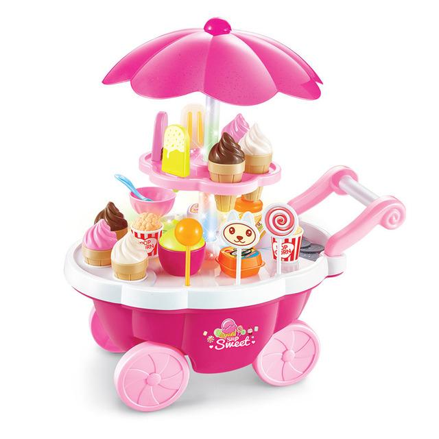 Simulación pequeños carros chica mini-tienda de supermercado carrito de helados dulces niños de toys jugando en casa bebé toys