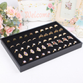 Fashion New Black Rings Organizer Stand Showcase Jewelry Display Ring Earring Holder Box 100 Slots Jewelry Storage Display Case