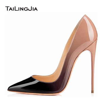 Extremly High Heels Black Nude Patent Basic Women Court Shoes Mirror Leather Stilettos