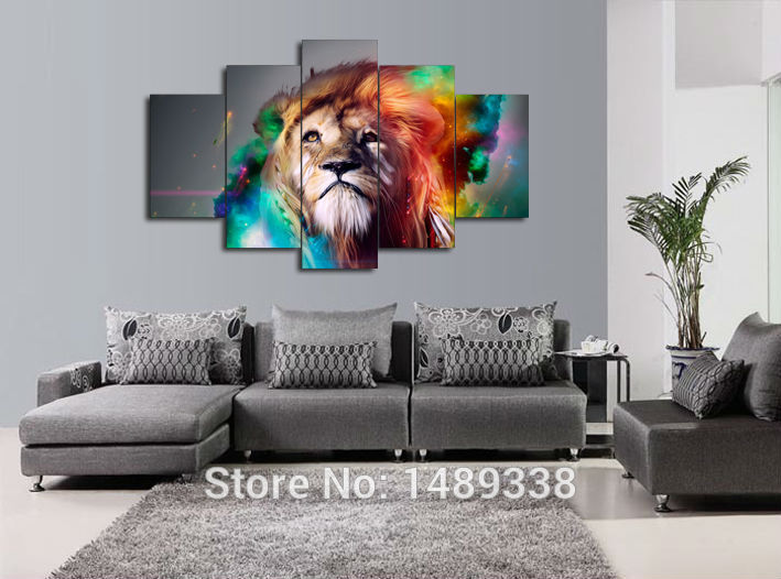 wall portraits living rooms. 5 piece Painting wall art large painting colour lion animal canvas prints  living room decoration pictures Free Shipping jjk802 in Calligraphy