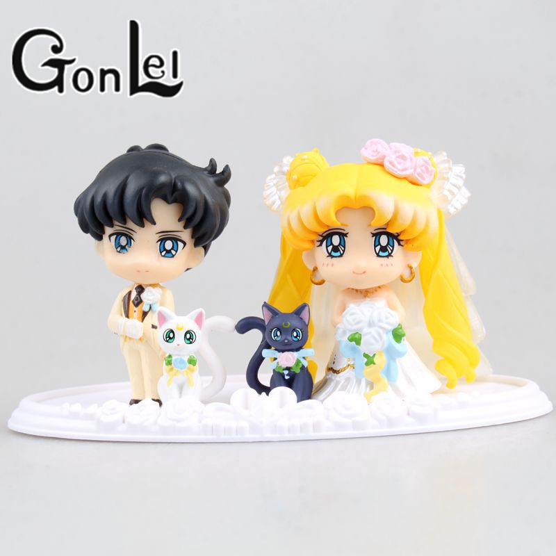 Cartoon Anime Sailor Moon Pretty Guardian Sailor Moon Chiba Mamoru Happy Wedding Ver. PVC Action Figure Model Kids Toys Doll 6cm