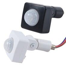 Sensor de movimento automático de alta qualidade, 12mm ac 85 265v, pir, infravermelho, detector, luz led, parede, para áreas externas 180 graus