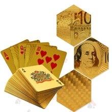 Золотые игральные карты золотой фольги покерный набор евро, доллар сетка Золотая пластиковая фольга покер прочные водостойкие карты