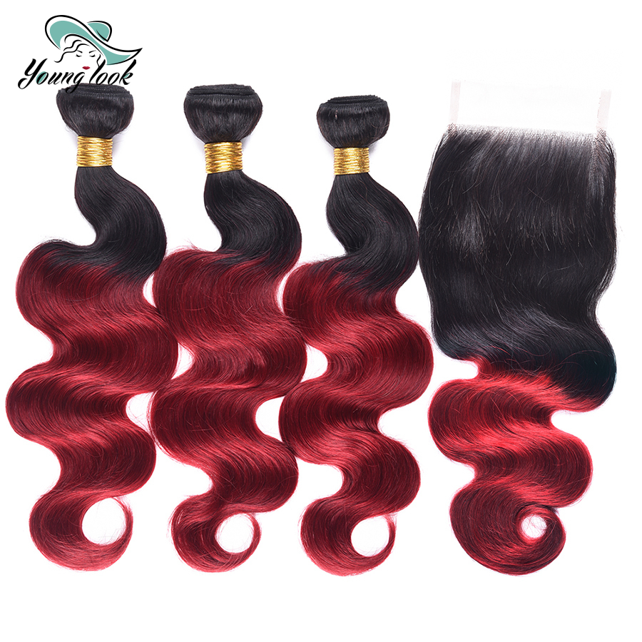 Young Look Brazilian Body Wave 3 Bundles with Closure 1b/burgundy Ombre Human Hair Weave Bundles Non-remy Red Hair Extensions