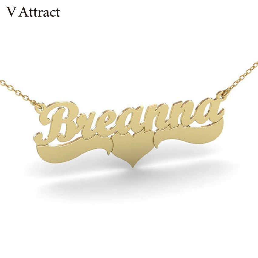 V Attract Handmade Custom Jewelry Personalized Name Necklace Women Men Bijoux Femme Gold Filled Heart Statement Choker Gift Idea