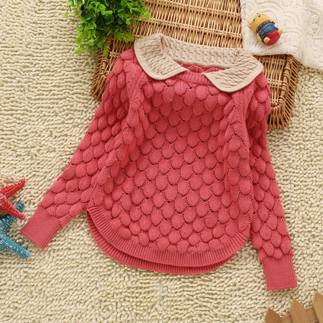 Nova meninas do bebê camisola do inverno do outono do algodão camisola meninas do pescoço curto camisola crianças meninas cashmere algodão gola boneca pullover