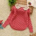 Nuevos bebés del suéter de otoño invierno niñas suéter de algodón de cuello corto suéter de los niños niñas de algodón collar de la muñeca suéter de cachemira