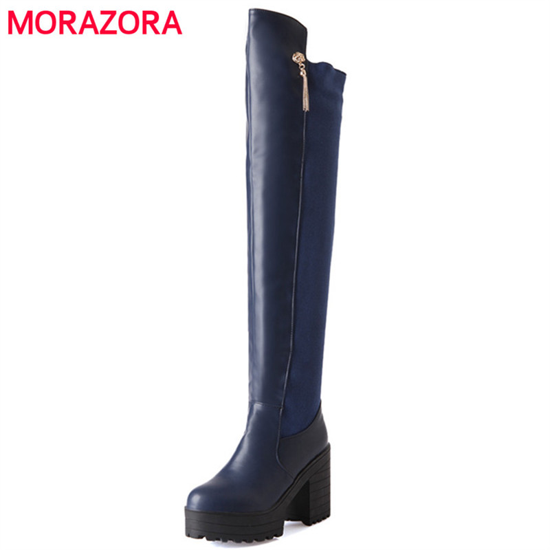 MORAZORA Over the knee boots for women autumn winter platform high heels shoes womens boots stretch big size 34-43 big size riding equestrian boots fashion platform over the knee high heels boots for women shoes eur size34 43