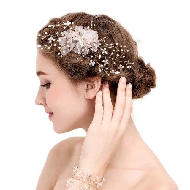 Модные женские туфли Jewelry Золотая тиара Корона цветок имитация жемчуга волос со стразами Свадебные Noiva Свадьба волос заколка Интимные аксессуары