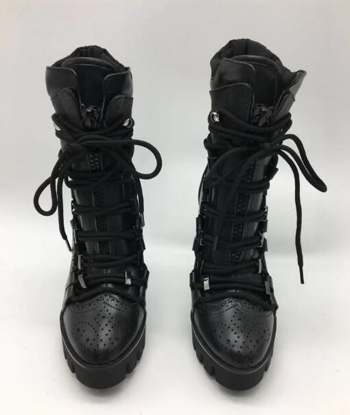 Negro 42 Mujeres Otoño Cuerda La Marca Alto Lujo Cortos Cuero De 35 Botines Tacón Plataforma Nuevas Tamaño 130mm Encaje 2017 AAqwzEH0
