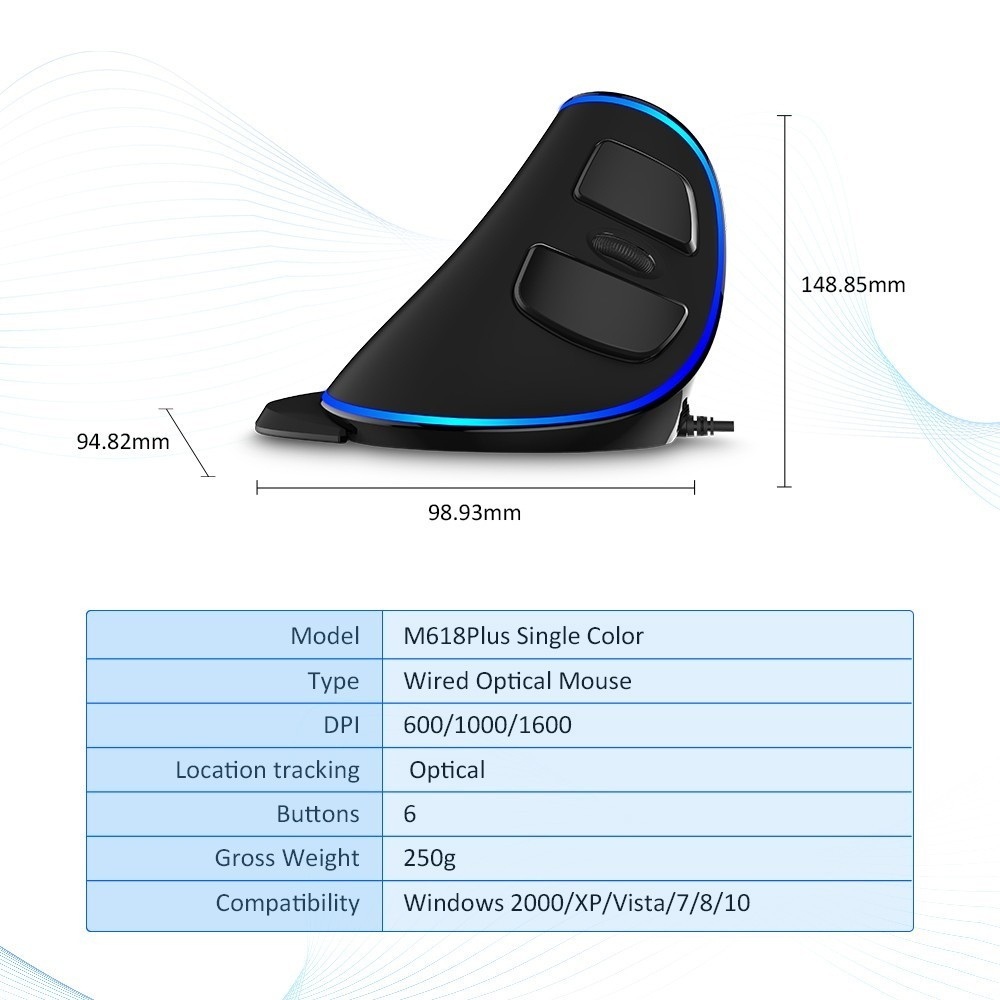 Image 5 - Delux M618 Plus Ergonomic Vertical wired Mouse 6 Buttons 1600 DPI Blue led light Computer mice with Palm Rest for PC Office-in Mice from Computer & Office
