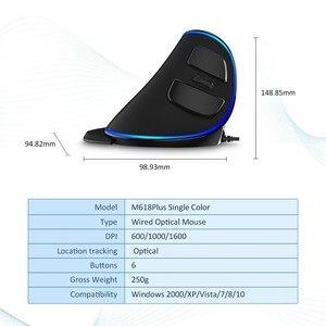 Image 5 - Delux M618 Plus ergonomique Vertical filaire souris 6 boutons 1600 DPI lumière bleue led souris dordinateur avec repose paume pour PC bureau
