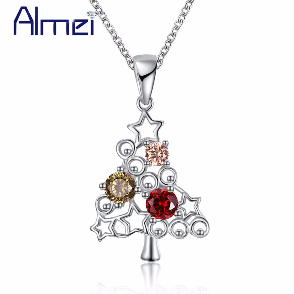 Almei Christmas Tree Necklace Pendant Rose Gold Color Decorating Women Necklaces & Pendants Party Jewelry Black Friday PN1206